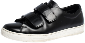 Prada Sport Black Leather Velcro Strap Low Top Sneakers Size 41.5