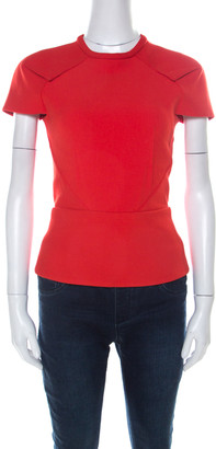Roland Mouret Red Moss Crepe Stretch Peplum Top S