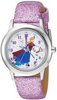 Disney Girl's 'Frozen Anna' Quartz Stainless Steel Casual Watch, Color:Purple (Model: WDS000195)