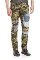 PRPS Mixed Media Camo Distressed Pants