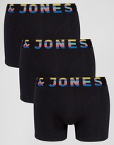Jack and Jones Trunks 3 Pack with Contrast Waistband