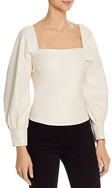 Lucy Paris Puff-Sleeve Faux Leather Top - 100% Exclusive