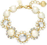 Kate Spade Gold-Tone Imitation Pearl & Crystal Link Bracelet