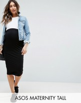 Asos Tall Over The Bump Midi Pencil Skirt In Jersey