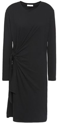 Vince Knotted Gathered Cotton-jersey Dress