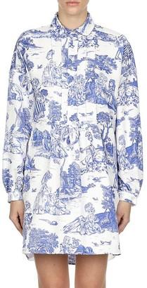 Moschino Toile Pintuck Pleated Shirtdress