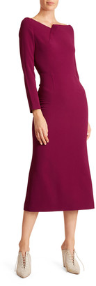 Roland Mouret Square-Neck Long-Sleeve Jersey Dress