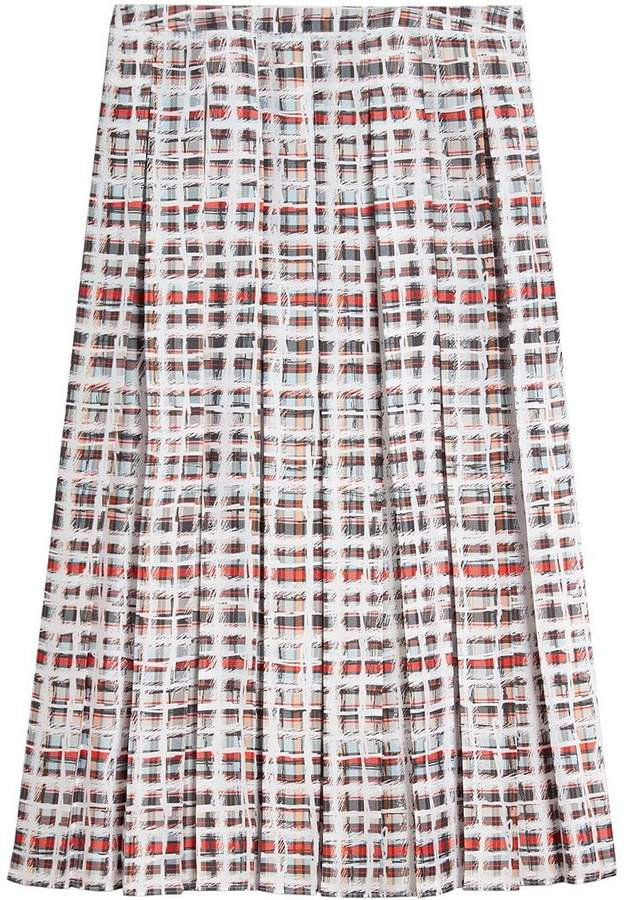 Burberry Pleated Scribble Check Silk Skirt