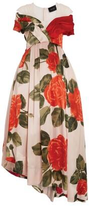 Simone Rocha Silk Floral Asymmetric Dress
