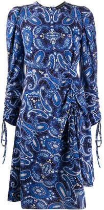 Etro Paisley Long-Sleeve Midi Dress