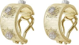 Buccellati 'Macri' diamond yellow gold hoop earrings