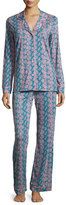 Cosabella Bella Snake-Print Long Pajama Set, Blue/Pink