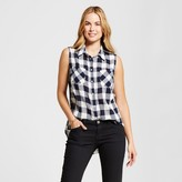 Merona Women's Sleeveless Plaid Favorite Shirt Navy Plaid