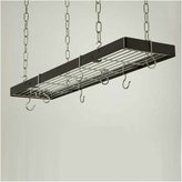 Rogar Rectangular Hanging Pot Rack In Hammered Steel and Chrome