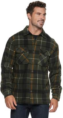 Men's Victory Rugged Wear Plaid Sherpa-Lined Fleece Shirt Jacket