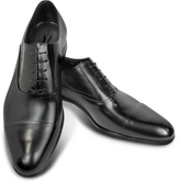 Moreschi Dublin Black Leather Cap-Toe Oxford Shoes