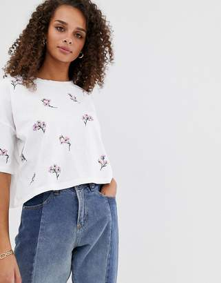 Asos Design DESIGN boxy t-shirt with all over ditsy embroidery in white