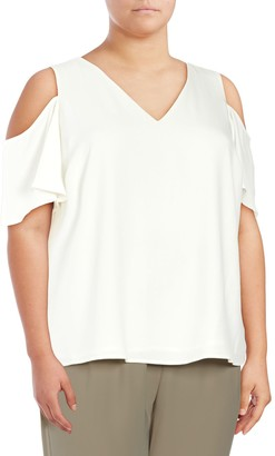 Calvin Klein Collection Plus V-Neck Cold Shoulder Top