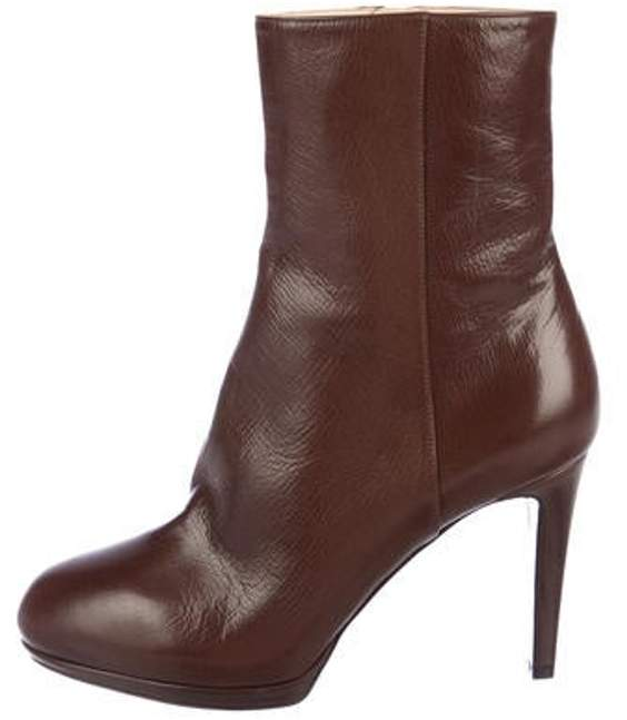 Sergio Rossi Leather Round-Toe Ankle Boots Brown Leather Round-Toe Ankle Boots
