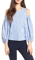 Soprano Women's Stripe Cold Shoulder Top