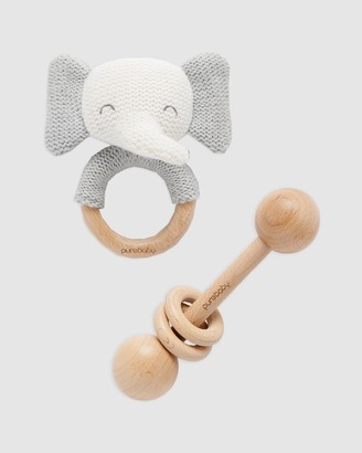Purebaby Grey Wooden Toys - Elephant Knit Teether & Rattle Set - Babies - Size One Size at The Iconic