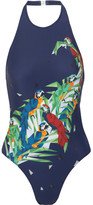 Norma Kamali Sister Chuck Printed Cutout Swimsuit - Midnight blue