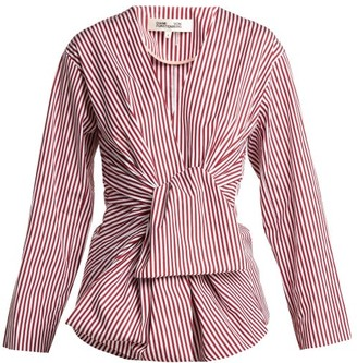Diane von Furstenberg Striped Waist-tie Cotton Blouse - Womens - Red White