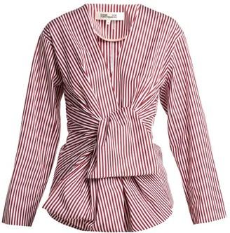 Diane von Furstenberg Striped Waist Tie Cotton Blouse - Womens - Red White