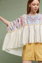 Anthropologie Mariposa Embroidered Top, Ivory