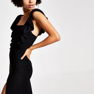 River Island Womens Black frill sleeve midi dress