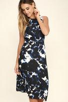Olive + Oak Olive & Oak Maddie Black and Blue Print Midi Dress