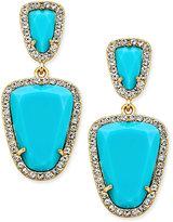 ABS by Allen Schwartz Gold-Tone Blue Stone Double-Drop Earrings