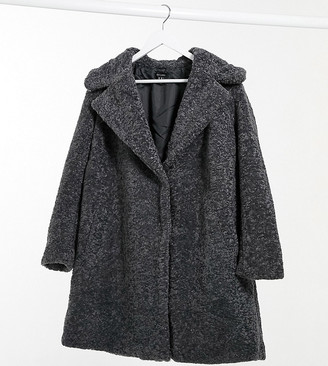 New Look Plus New Look Curve longline faux-fur jacket in mid grey
