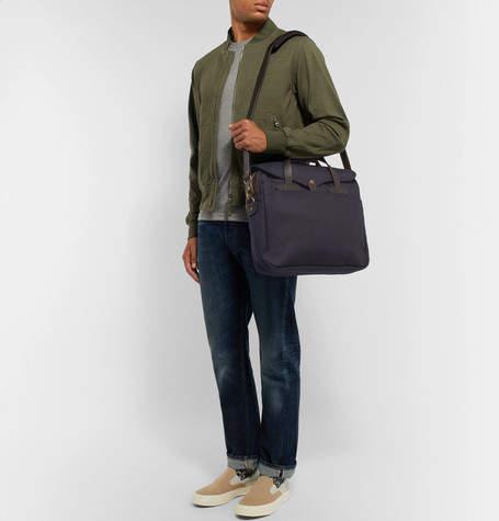 Filson Original Leather-Trimmed Twill Briefcase