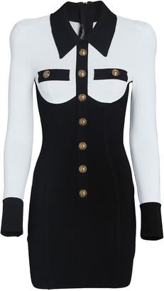 Balmain Button-Embellished Crepe Mini Dress