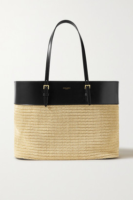 Saint Laurent Leather And Raffia Tote - Neutral