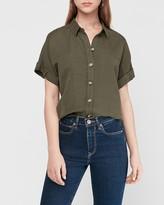 Express Button Front Linen-Blend Shirt