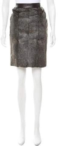 Alexander Wang Fur-Paneled Leather Skirt