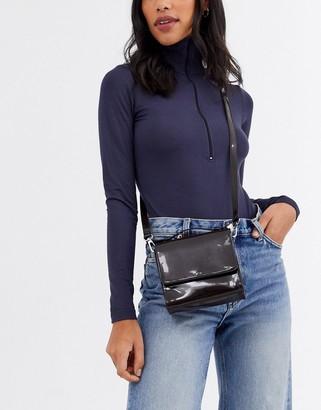 Weekday Mini patent handbag in dark brown