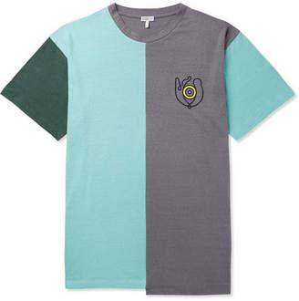 Loewe Eye nature Asymmetric Colour-block Cotton-jersey T-shirt - Multi
