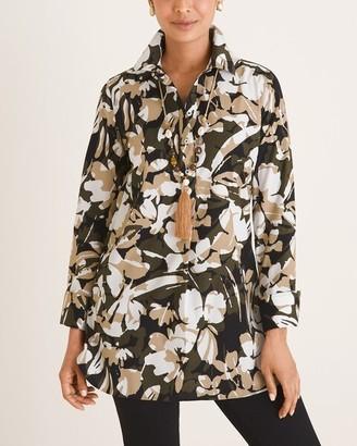 No Iron Camo-Floral Print Cotton-Blend Pullover