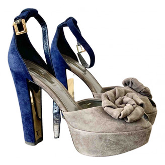 Louis Vuitton Grey Suede Sandals