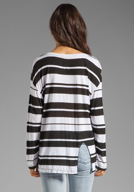 Blue Life Best Bum Long Sleeve Tee in Black/White Stripe