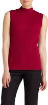 Lafayette 148 New York Mock-Neck Ribbed Sleeveless Sweater