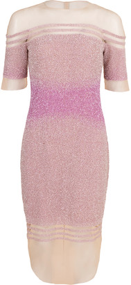 Pamella Roland Off-Shoulder Illusion Sequin Dress