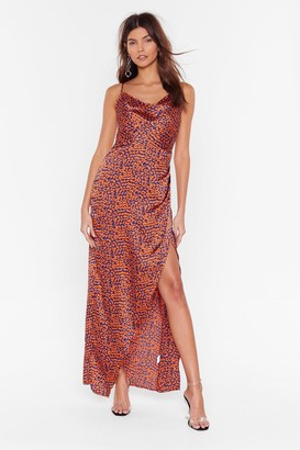 Nasty Gal Womens Cheetah Maxi Dress with Cowl Neckline - Blue