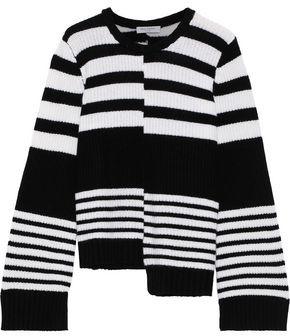 Equipment Asymmetric Striped Cashmere Sweater