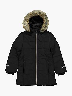 Polarn O. Pyret Children's Long Parka Coat, Black