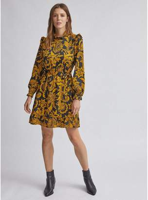 Dorothy Perkins Floral Shirred Fit And Flare Dress - Ochre