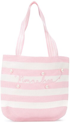 MonnaLisa Striped Print Pearl Shoulder Bag